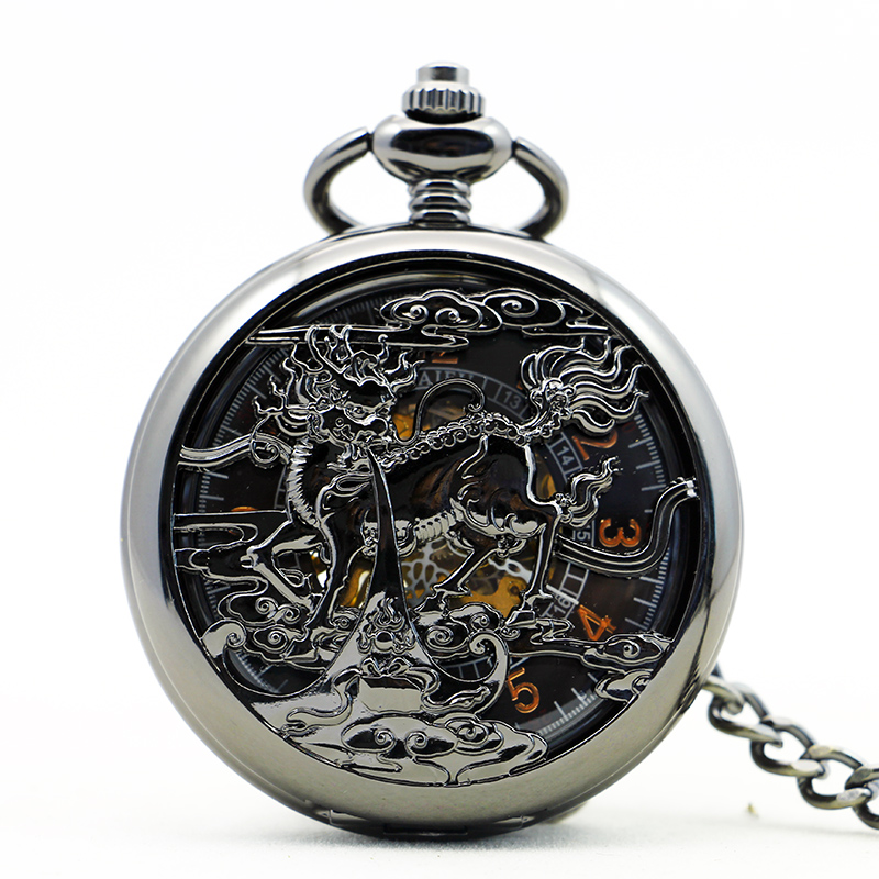 Antique Black Unisex Mechanical Pocket Watch  Women Man Retro Roman Number Necklace Pendant Hollow Pocket & Fob Watch