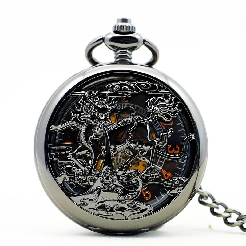 Antique Black Unisex Mechanical Pocket Watch  Women Man Retro Roman Number Necklace Pendant Hollow Pocket & Fob Watch