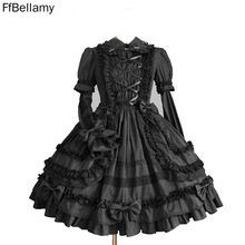 Punk Dress Satin Long-Sleeve Gothic Lolita-Dress/women's Cosplay Black Product Details