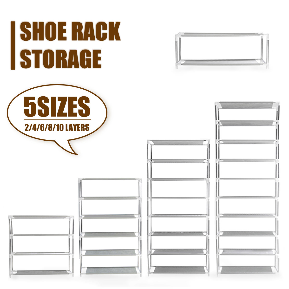Multi Layer Tier Optional Metal Shoe Rack Storage Organizer Stand Shelf Holder 2/4/6/8/10 Tier Portable Shoes Display Storage
