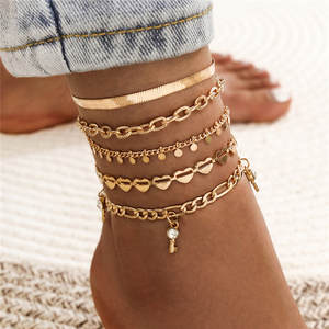 Anklet Jewelry Crystal Heart-Key Beach-Barefoot Gold-Color Modyle Bohemian Woman Snake-Chain