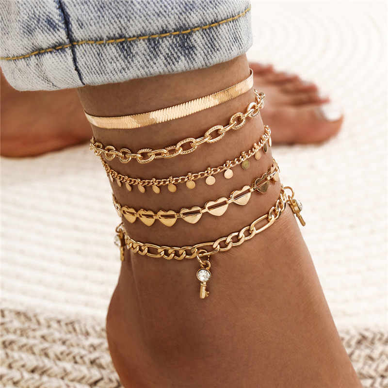 Modyle 2020 New Punk Vintage Gold Color Heart Key Bohemian Crystal Sequins Anklet for Woman Snake Chain Beach Barefoot Jewelry