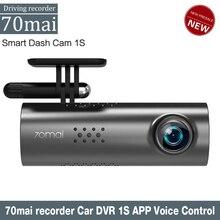 70mai داش كام واي فاي APP التحكم الصوتي الإنجليزية جهاز تسجيل فيديو رقمي للسيارات 1080HD للرؤية الليلية داشكام 70 ماي 1S مسجّل بيانات كاميرا السيارة كاميرا