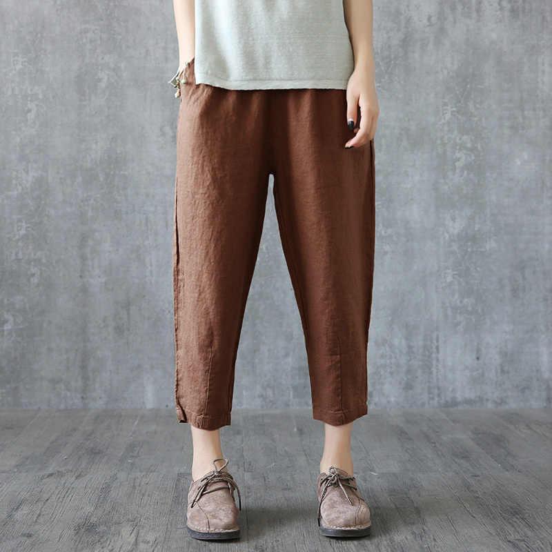 2020 플러스 사이즈 바지 여성 의류 하렘 바지 캐주얼 플러스 사이즈 4xl 한국 패션 리넨 팬터 룬 여성 yy043