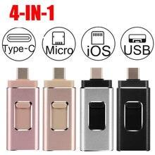 4 em 1 tipo-c otg usb pen drive 64gb de memória vara para iphone android pc 128g 256 gb usb 3.0