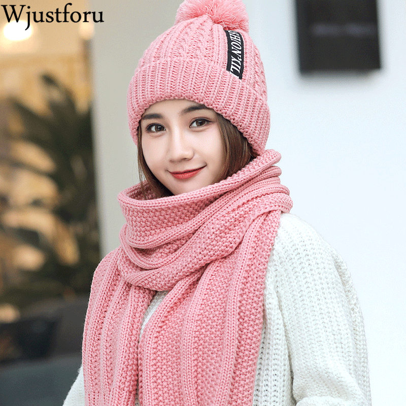 Wjustforu  Winter Hat And Scarf Set For Women Girl 'S Pure Color Hat Wool Hat Wool Skullies Beain Female Cap And Scarves Set