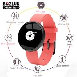 Bozlun wodoodporny inteligentny zegarek fitness okres Tracker BMI kalkulator Anti-Loss Smartwatch dla kobiet panie reloj inteligente B16