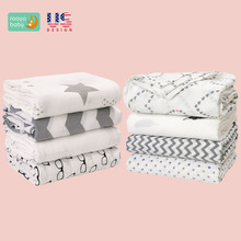 Baby Swaddle Blanket Unisex Swaddle Wrap Soft 100% Cotton Muslin Swaddle Blankets Sleeping Bag for Boys and Girls 120*120cm
