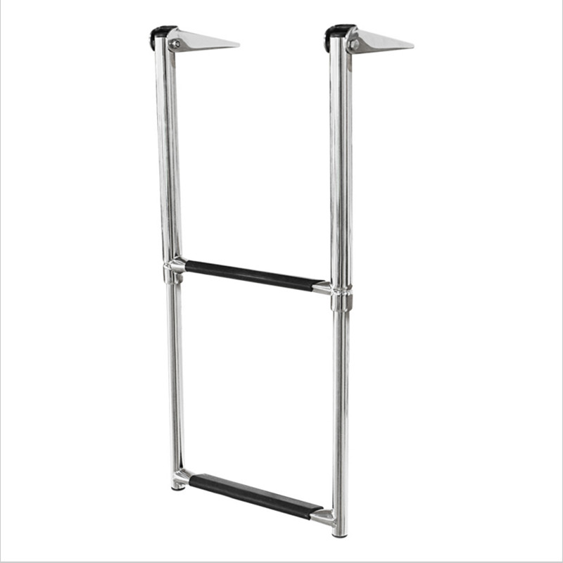 Marine 2 Steps Stainless Steel Boat Yacht Telescoping Ladder Deck Outboard Swim Platfrom