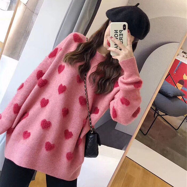 Sweater women's loose jacket fall winter love pullover long sleeve lazy style net red fashion retro knit top 2020 New hot sale 4