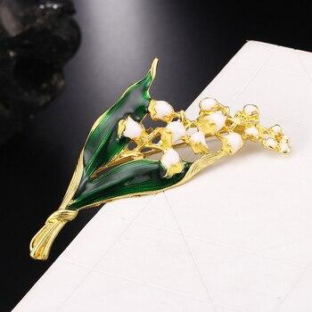 1 Uds. Broche Floral de hoja para mujer, a la moda aleación blanca, esmalte femenino, broche de oro del valle del lirio, joyería