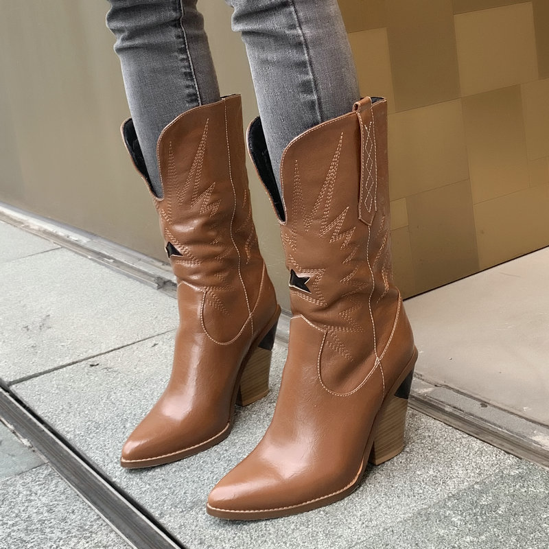 Pointed Toe Wedge Heel Western Boots for Women Faux Leather Cowboy Boots Women Mid-calf Boots Black Brown White Red Boots 2019