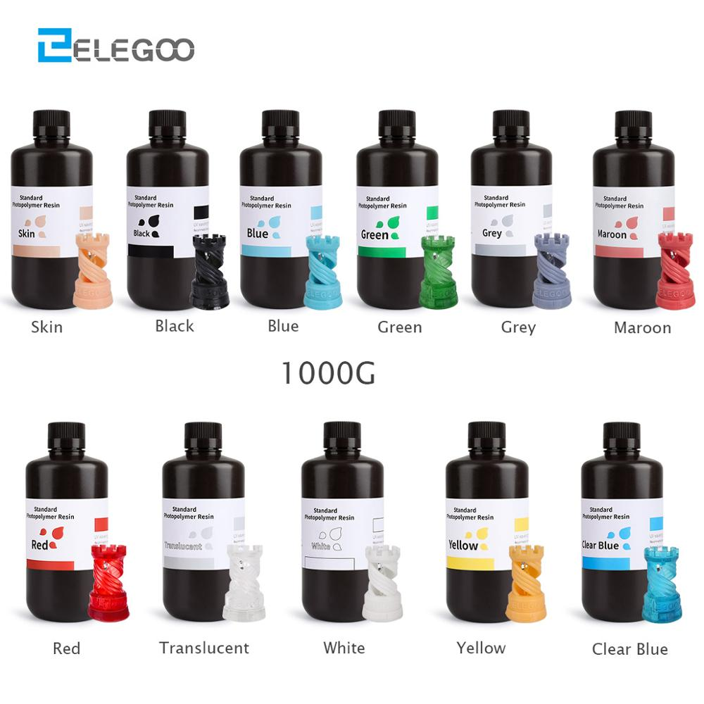 Resina padrão do fotopolímero da resina 405nm de cura uv do lcd da resina da impressora 3d elegoo para a impressão 3d do lcd 1000ml pele branca cinzenta preta