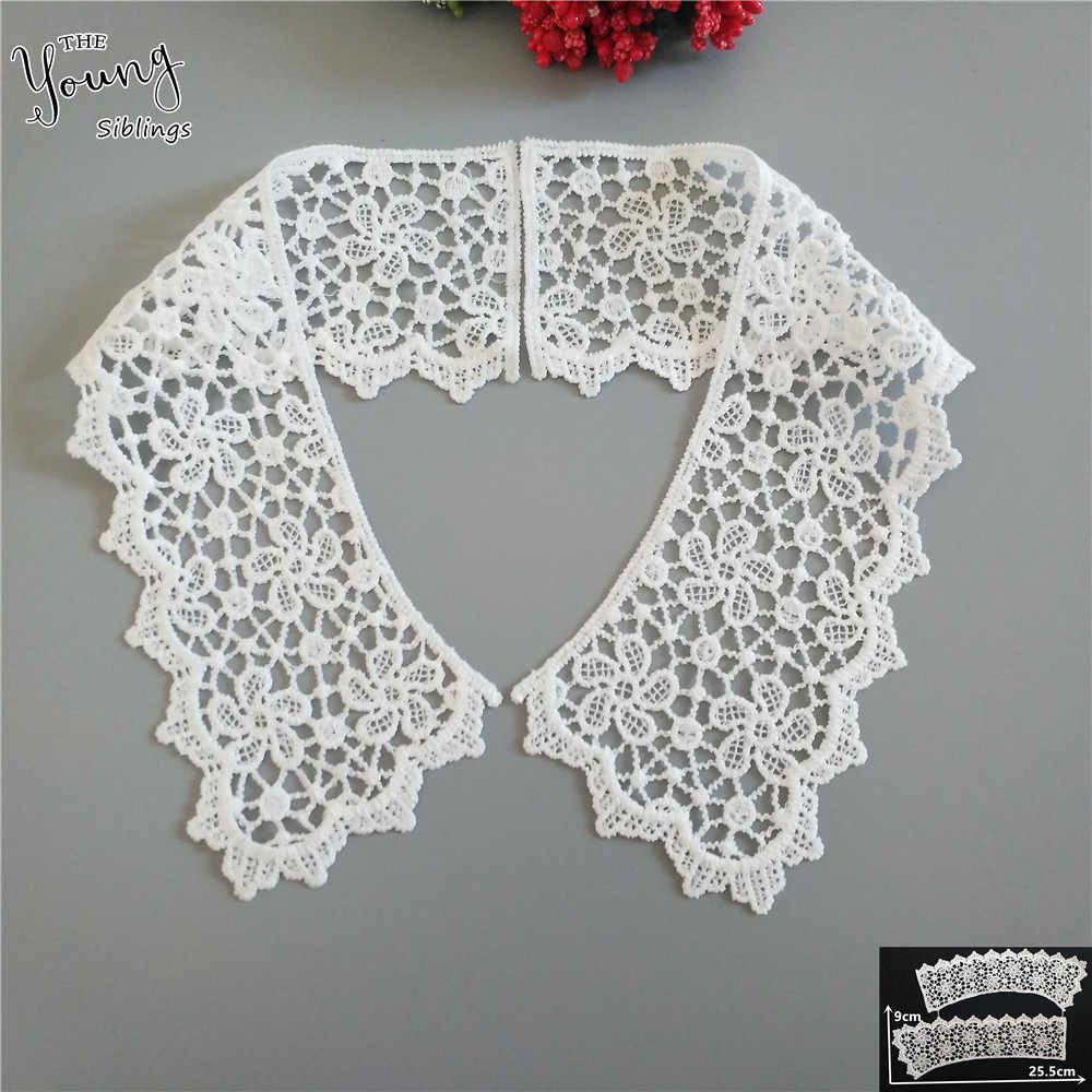 High quality White Lace Neckline Fabric Embroidered Applique Lace Collar DIY Clothing Accessory Craft Sewing Supplies 1pcs sell