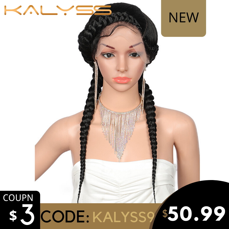 "Kalyss 24"" Fully Hand-Braided Swiss Lace Front Dutch Twins Braided Wigs With Baby Hair For Women No Split Ends Black Braided Wig"