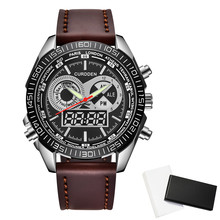 Latest Luxury Brand Watches Mens Chronograph Business Analog Digital Leather Watch Men Waterproof Watch Relogios Masculinos 2020