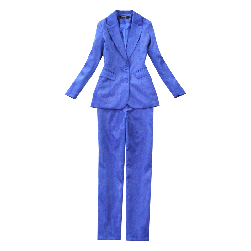 Winter women's suit Pants suit 2019 new solid color corduroy striped blue jacket female Slim trousers Workwear two-piece set