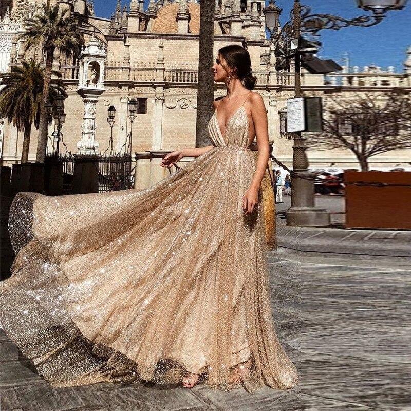 BacklakeGirls 2019 Sexy Deep V Neck Seuqined Long Evening Dress Floor Length Camisole Dress Vestido Largo Formal