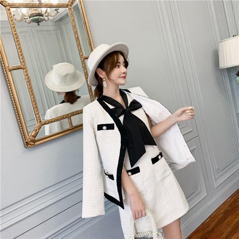 Small Fragrance Women's Tweed Set V-Neck Pearls Jacket Coat+Bow Scarf Vest Dress Tweed Short Dress Winter Elegant 2 Piece Set
