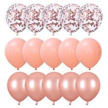 15 Uds 12 ''ROSA MELOCOTÓN globos confeti de oro rosa globo de látex redondo nupcial ducha globos de fiesta de cumpleaños decoración de la boda