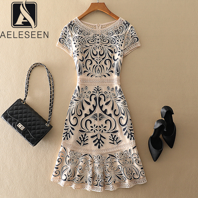 AELESEEN 4XL Plus Size Dresses Women Spring Summer Luxury Vintage Jacquard Hollow Out Floral Embroidery Elegant Party Dress