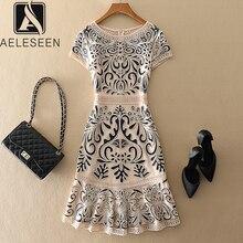 Женское винтажное жаккардовое платье AELESEEN, элегантное праздничное платье размера плюс 4XL с цветочной вышивкой, для весны и лета