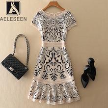 Aeleseen vestidos femininos plus size, vestidos de primavera, verão, de luxo, vintage, jacquard, bordado, floral, vestido de festa elegante