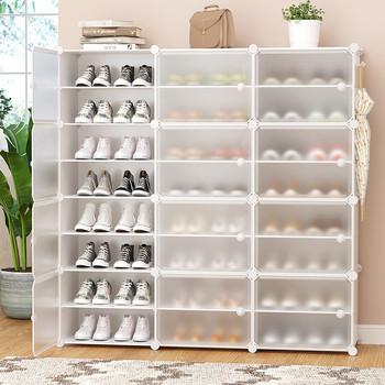 Kostka plastikowa pyłoszczelna szafka na buty DIY wielowarstwowe buty do przechowywania butów buty organizator z drzwiami dom umeblowanie oszczędność miejsca tanie i dobre opinie CN (pochodzenie) Shoe Racks Organizers Montaż 10 stojak na buty meble do domu CHINA Nowoczesne meble do salonu Nowoczesna i minimalistyczna