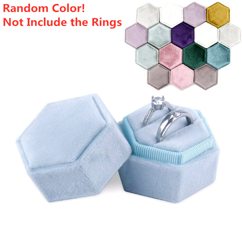 Hexagon Velvet Ring Box Double Ring Display Holder With Detachable Lid Wedding Ring Box Jewelry Container Random Color
