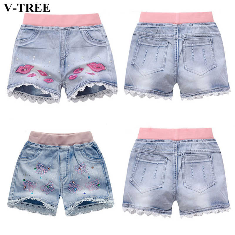 Girls Denim Shorts Teenagers Summer Lace Short Pants Kids Beach Clothes Children's Shorts For Teenage Girls