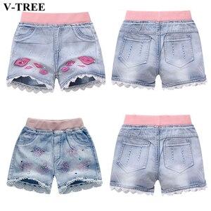 Girls Denim Shorts Teenagers Summer Lace Short Pants Kids Beach Clothes Children's Shorts For Teenage Girls(China)