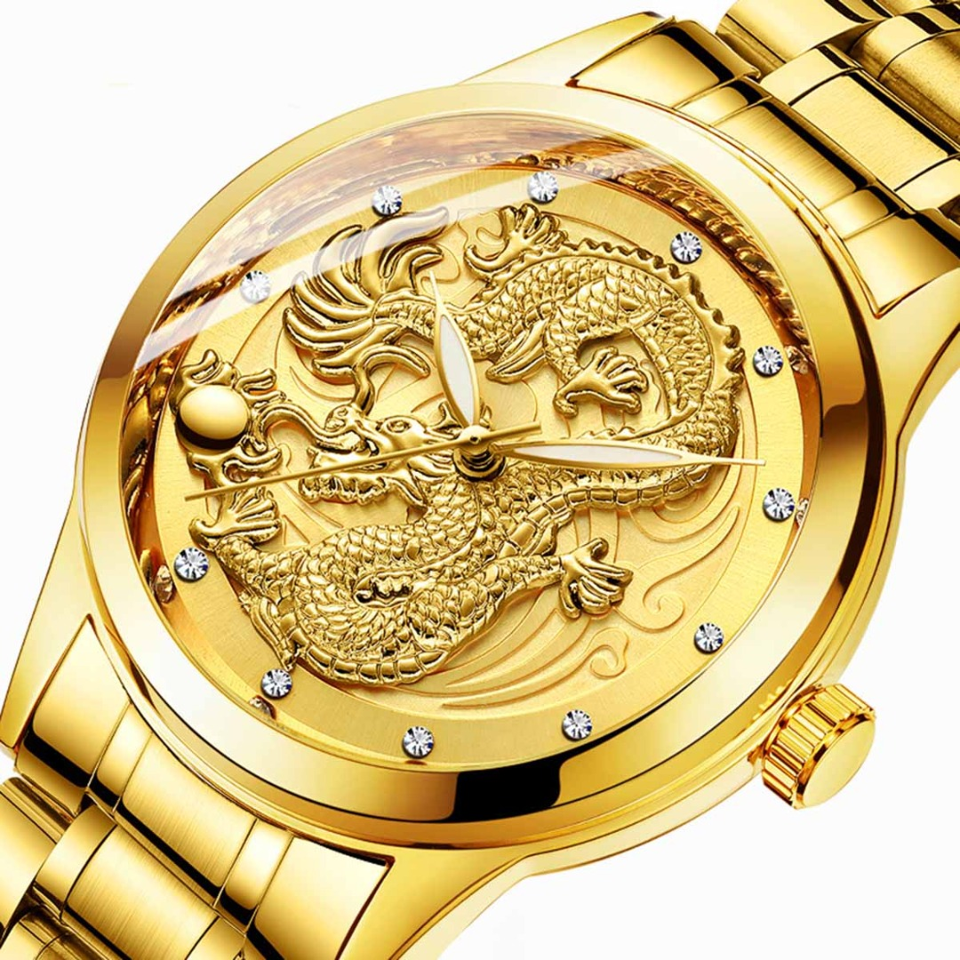 Top Brand Luxury Couple Watch Men Dragon Women Phoenix Gold Steel Watch Waterproof Quartz Watch Best Wedding Gift Reloj Hombre
