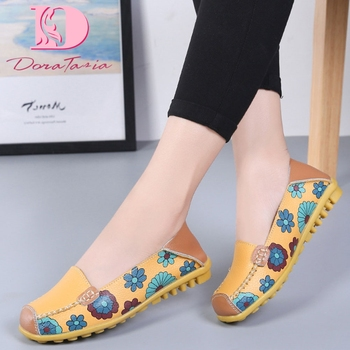 DORATASIA new Female Split Leather Shallow Flats Print Mixed Colors Women Spring Autumn Casual Comfort Loafers Shoes Woman