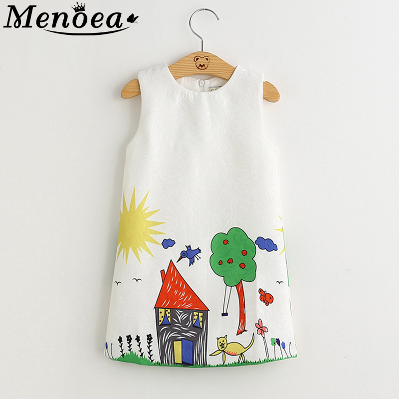 Menoea Girls Dress 2020 European And American Style Baby Girls Dresses Sleeveless Floral Printing For 3-8year Clothes Dress
