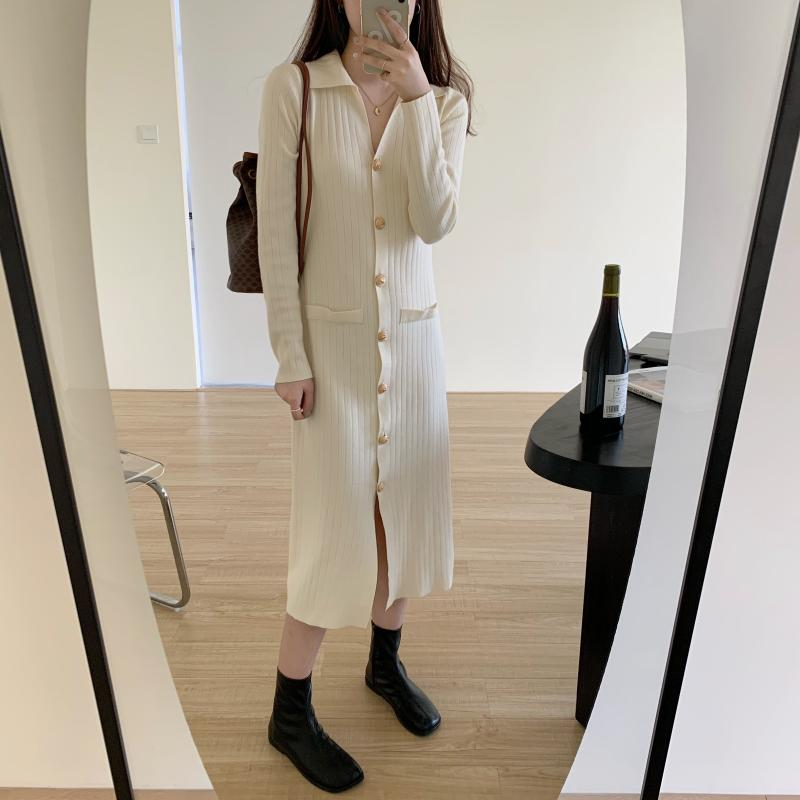 Hc23651c28c094b569308312b4c2cd2136 - Autumn Turn-Down Collar Soft Slim Solid Long Sweater Dress
