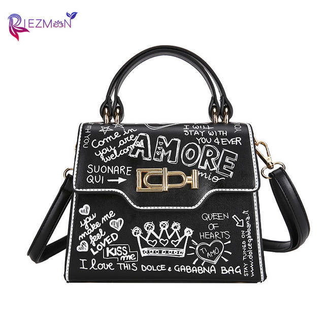 Online Shop Riezman Designer Fashion Graffiti Women Handbags Shoulder Bag Small Flap Bag Luxury Crossbody Bag For Women Evening Clutch Purse Aliexpress Mobile En Title