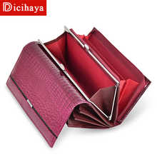 DICIHAYA Trend Wallet Female Women Wallet Long Wallet High Quality Coin Purse Women Button Purse Genuine Leather Zipper Wallets - DISCOUNT ITEM  48% OFF All Category