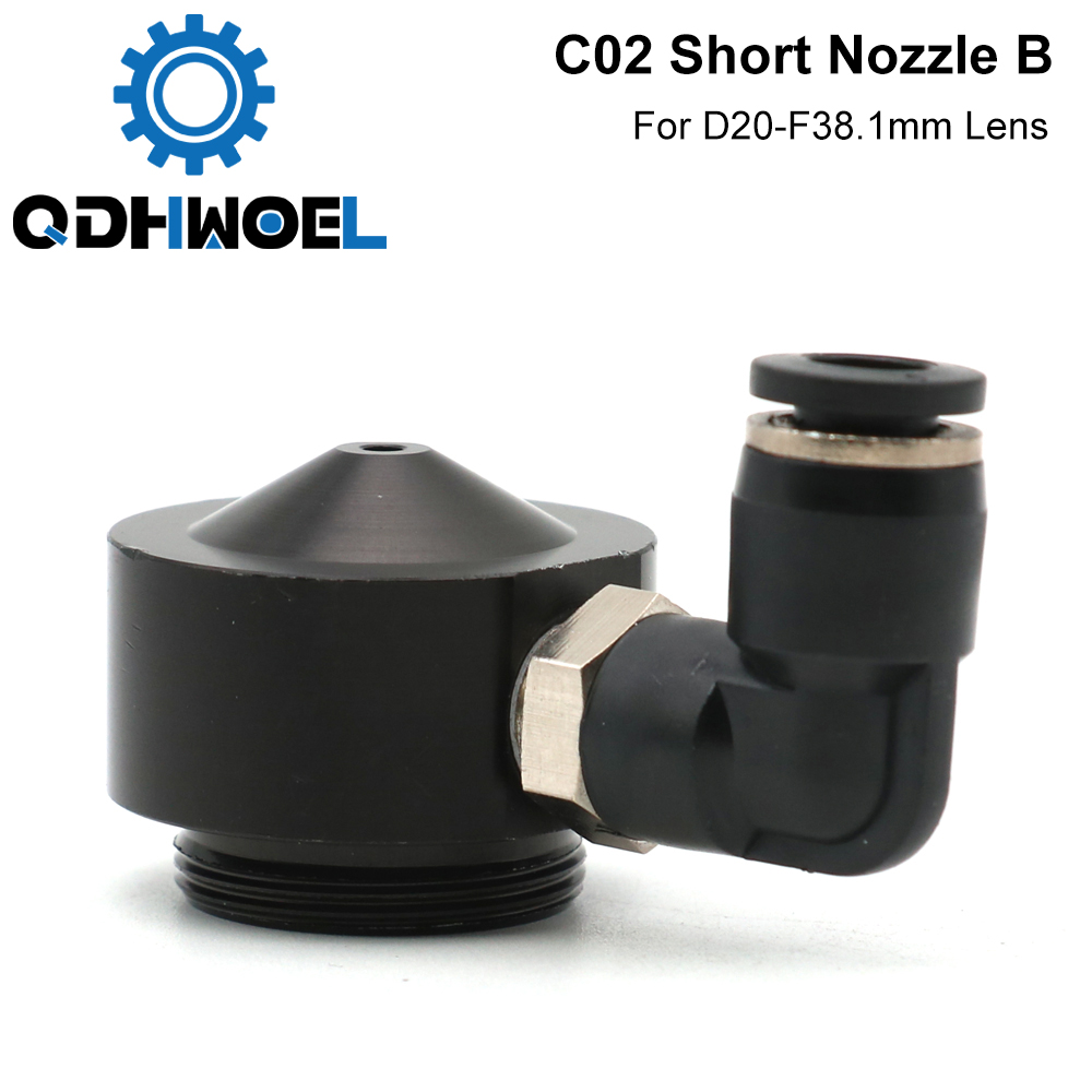 Air Nozzle N02 For Dia.20 FL38.1 Lens CO2 Short Nozzle B With Fitting For Laser Head At CO2 Laser Cutting Machine