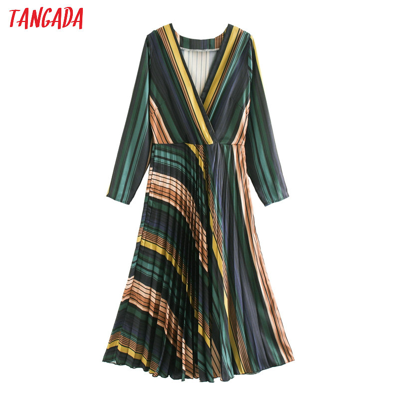 Tangada Fashion Women Striped Print Pleated Dress V Neck Long Sleeve Ladies A-line Midi Dress Vestidos XN202