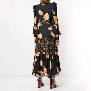 Image 3 - TWOTWINSTYLE Patchwork Print Dress For Women V Neck Lantern Sleeve High Waist Dresses Female 2020 Autumn Large Size Fashion New