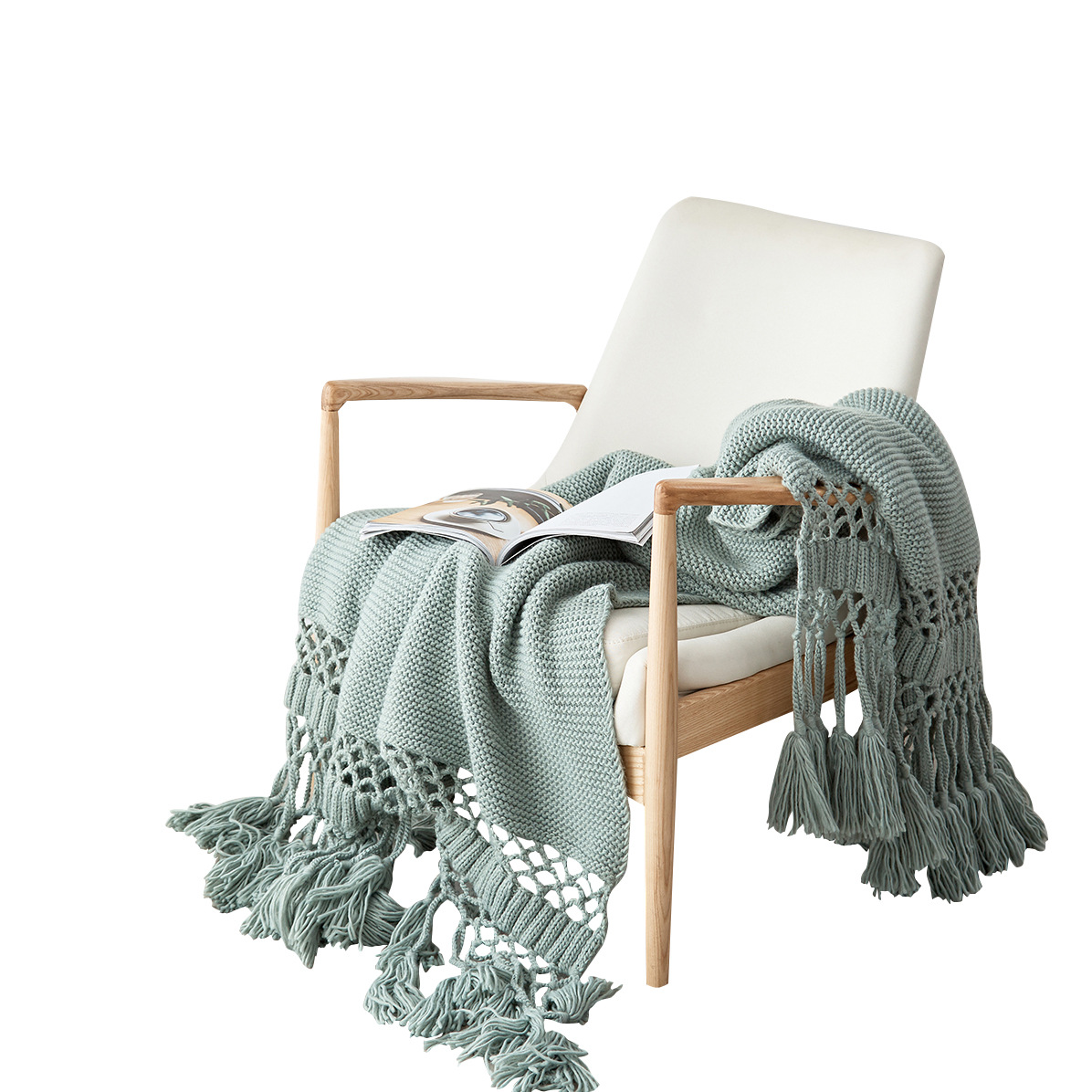 New Products American-style Hand-Knitted Thread Blanket, Sofa Cover Blanket, Hollow Tassel Blanket, Air-Conditioning Blanket