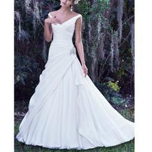 Wedding-Dresses Spaghetti-Straps Beading Satin Court-Train White V-Neck Dropped No Vestido-De-Novia