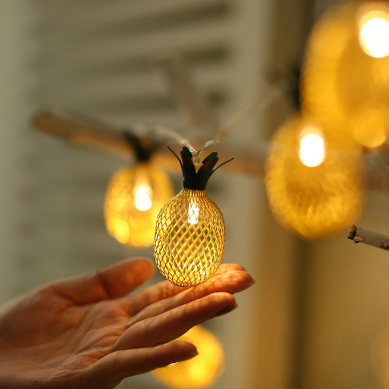 Festival Fruit Pineapple Lamp String Iron Antique Pineapple Small Color Lamp LED Christmas Decoration Lamp USB