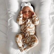 Одежда для новорожденных девочек от 0 до 6 месяцев Осенний комбинезон с длинными рукавами и цветочным принтом, элегантная гофрированная Роба, милая хлопковая одежда с цветочным принтом