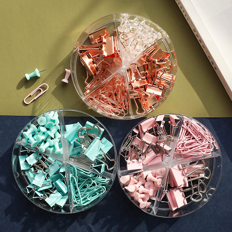 Color Binder Clips Set Mint Green Pink Rose Gold Multi Paper Clips Push Pin Stationery Office Accessories School Supplies A6022