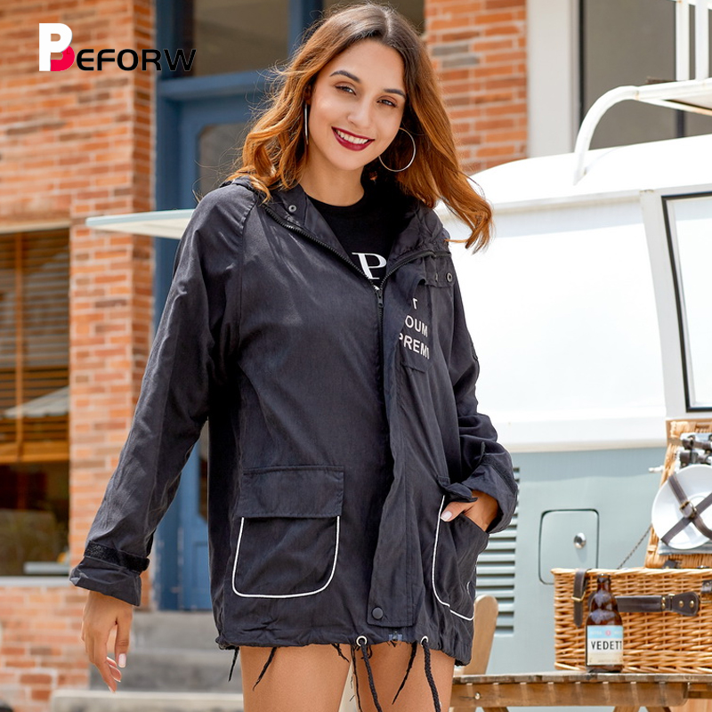 BEFORW 2019 Fall Casual Letter Print Bomber   Basic     Jacket   Women Pocket Zipper Hooded Drawstring   Jackets   Female Streetwear Coats