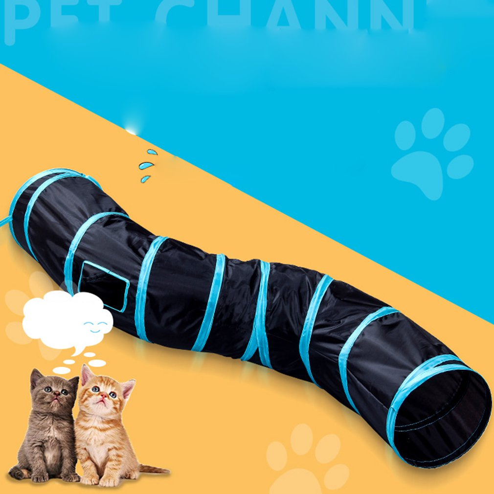 Cat Toy S-Type Cat Tunnel Foldable Cat Channel Cat Rolling Dragon Cat Bell Ball Pompom Toy Pet Supplies image