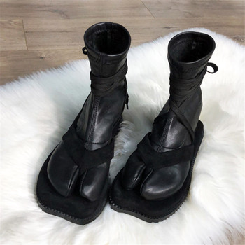 Fashion Design Women Ankle Boots Split Toe Flat Sock Boots Soft Leather Straps Military Boot Autumn Winter Shoes Woman