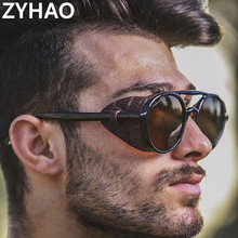 2020 Double Beam Steampunk Sunglasses Men Cheap Plastic Roun