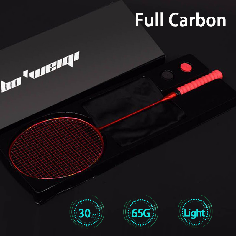 Ultra Light Professional 8U 65-67G Strung Full Carbon Fiber Badminton Rackets Max 30lbs G5 Racquet Racket With Strings Bag Padel